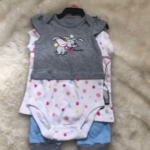 Disney's Dumbo 3 piece girls outfit size 9 months